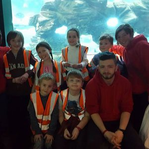 Children and Avenue Holiday Club staff at aquarium