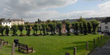 Lime trees and green space outside Marlborough nursery
