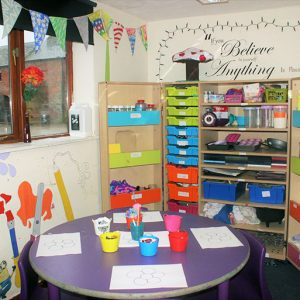 Arts and crafts cabinet in the after school and holiday club