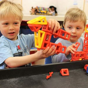Children playing with blocks in big acorns room Andover