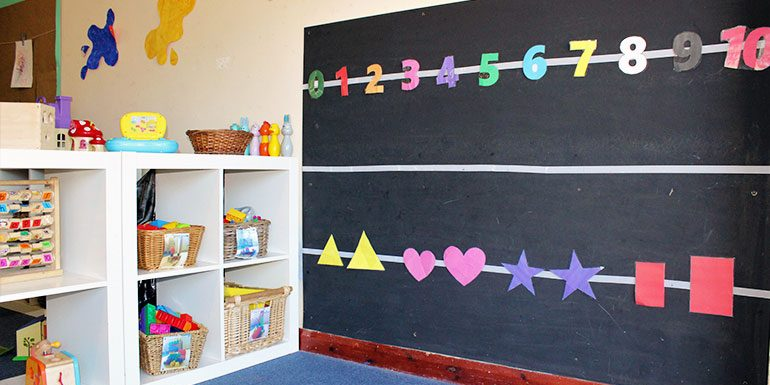 Blackboard and toys in Buttercups room Savernake