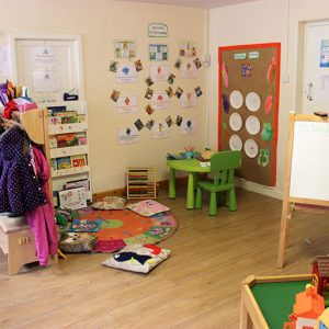 Toys set up and welcome board in Marlborough nursery