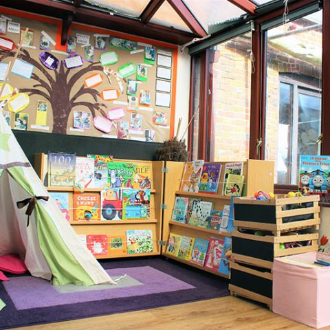 Inside the reception area of Savernake nursery