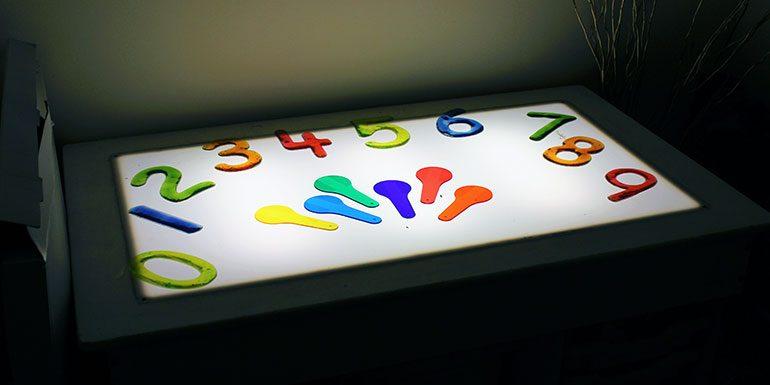 Interactive light box in the sensory room Andover