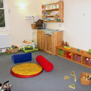 Toys and activities set up and ready to play with in the Snowdrops room Andover